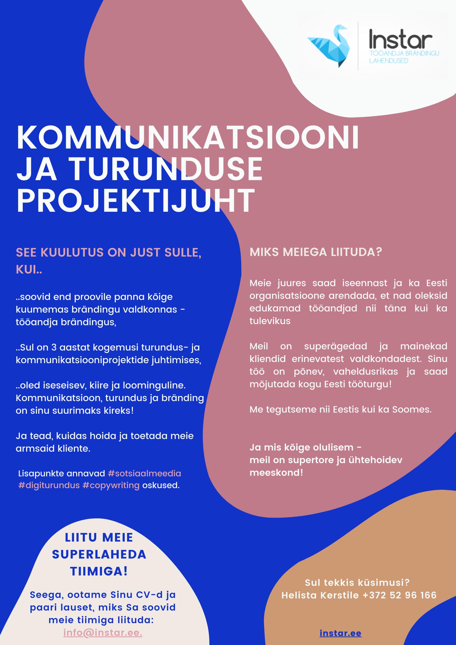 Turunduse ja kommunikatsiooni projektijuhi töökuulutus